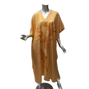 Hand Painted Silk Blend Kaftan Maxi Dress